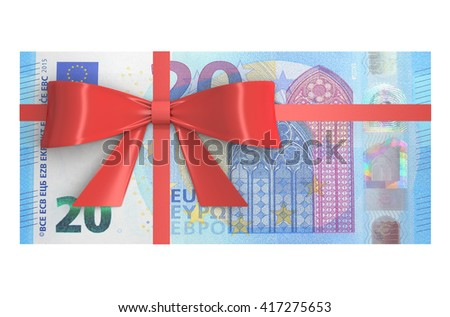 Wad of 20 Euro banknotes with red bow, gift concept. 3D rendering - stock photo