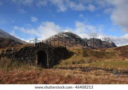 Wades Road & Three Sisters,Glencoe. - stock photo