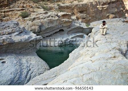 Wadi Bin Khalid Oman - stock photo