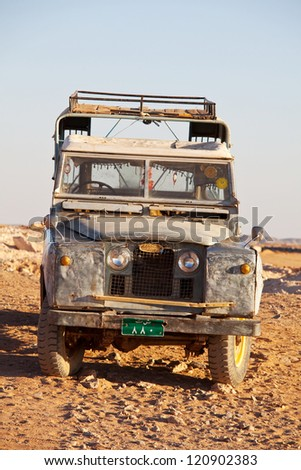 WADI HALFA, SUDAN - JANUARY 07: Old Land Rover on January 07, 2010 in Wadi Halfa. Sudan remains one of the least developed countries in the world. Many Land Rovers from WWII times are in use today - stock photo