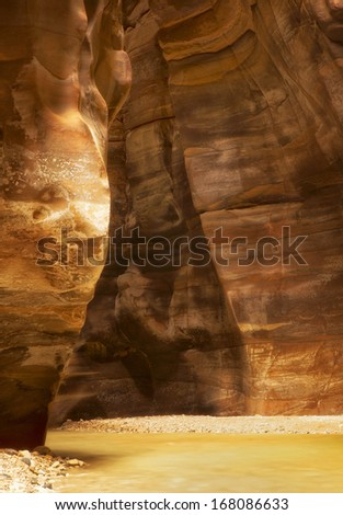 Wadi Mujib is canyon and national park located in area of Dead sea, Jordan - stock photo