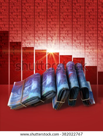 Wads of folded stacks of swiss franc banknotes on a red digital stock market indicator board background with a decreasing red bar graph  - stock photo