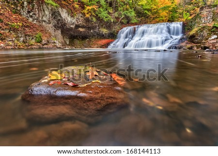 Wadsworth Falls during Autumn - stock photo