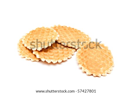 Wafer biscuits isolated on a white background. - stock photo