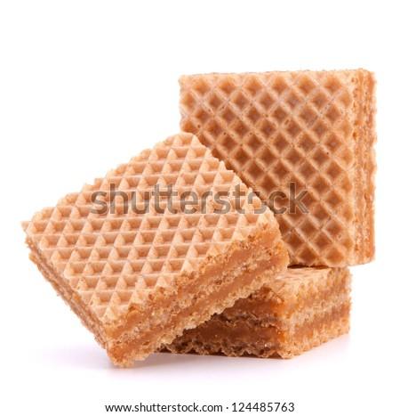 Wafers or honeycomb waffles isolated on white background - stock photo