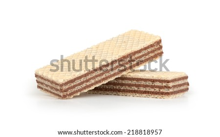 Wafers with chocolate isolated on white background - stock photo