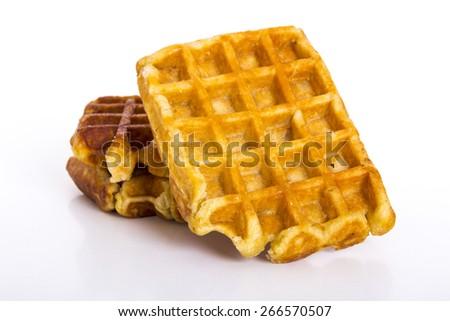 Waffle. Belgium waffles with chocolate - stock photo