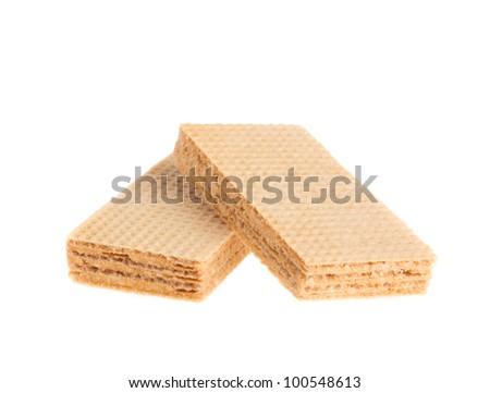 Waffle cake isolated on white background - stock photo