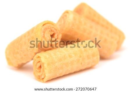 waffle cookies isolated on white background - stock photo