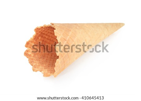 Waffle Cups for ice-cream isolated on white background. This has clipping path. - stock photo