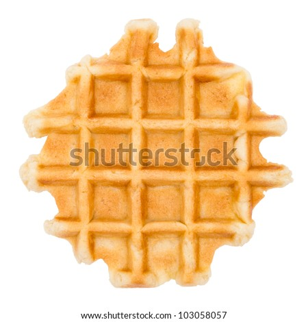 Waffle isolated on white with clipping path - stock photo