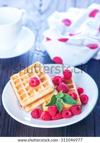 waffle with raspberry - stock photo
