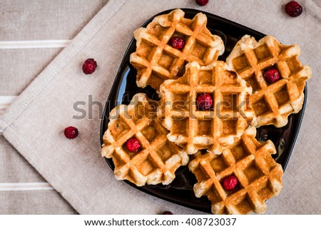 waffles, sugar waffles, Belgian waffles, waffles with berries, waffles top view - stock photo