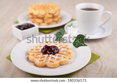 Waffles with sugar powder and cherry sauce  - stock photo