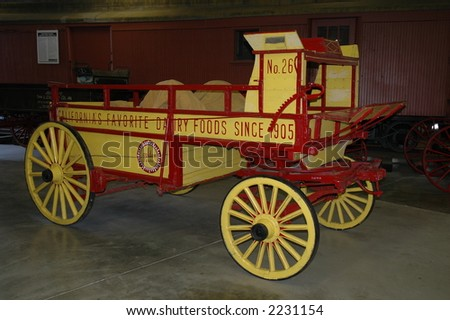 Wagon exhibit at Travel Town museum, Los Angeles - stock photo
