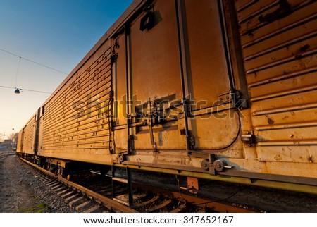 wagon freight train waiting for departure closeup - stock photo