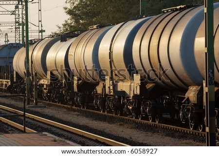 Wagons of a freight train transporting oil - stock photo