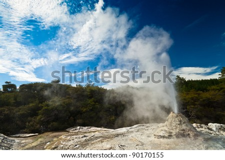 Wai-O-Tapu Wonderland. Geothermal area at Wai-O-Tapu, Rotorua, North Island, New Zealand. - stock photo