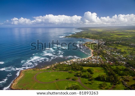 Waialua Bay and Haleiwa, Oahu Hawaii - Kaiaka Bay Beach Park in foreground, with Turtle Beach in the distance. - stock photo