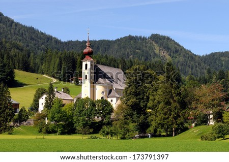 Waidring  is a municipality in the Kitzbuehel district in Tyrol in Austria - stock photo
