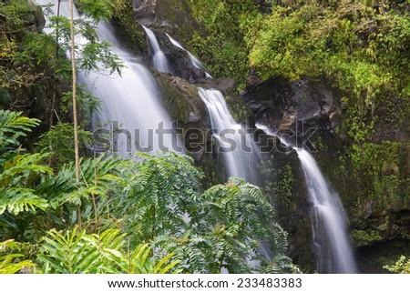 Waikani Falls, also known as the Three Bears on the road to Hana, Maui, Hawaii - stock photo