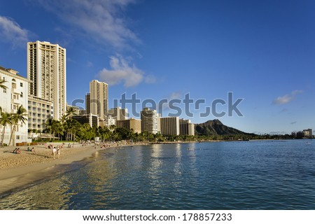 Waikiki Beach and Diamond Head on the island of Oahu - stock photo