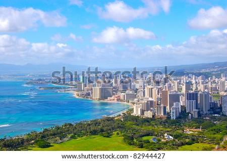 Waikiki Honolulu Hawaii City View from Diamondhead - stock photo