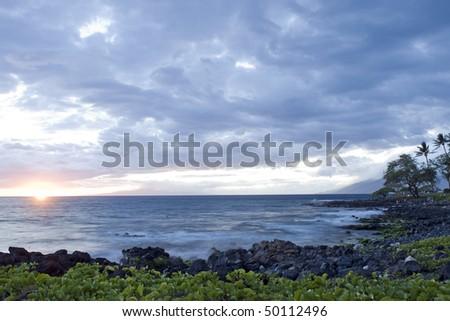 Wailea at Sunset, Maui, Hawaii - stock photo