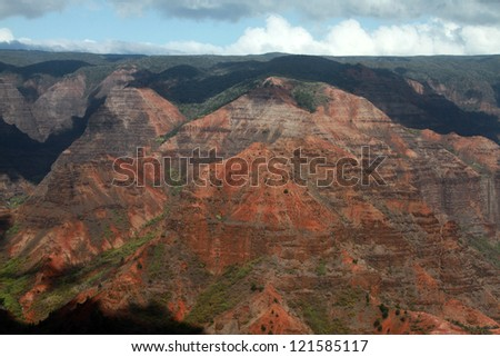 Waimea Canyon on the island of Kauai, Hawaii - stock photo