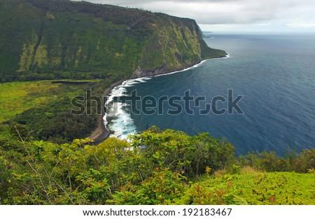 Waipio Valley Overlook, Big Island, Hawaii - stock photo