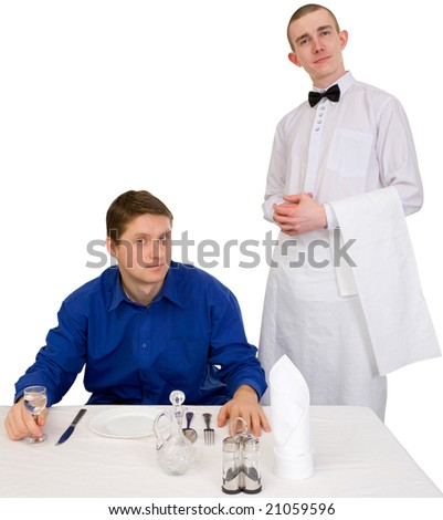 Waiter and guest of restaurant on a white background - stock photo