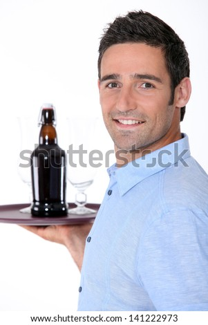 waiter at work - stock photo