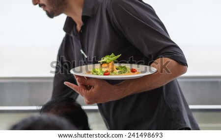 Waiter carrying a plate with salad dish on a wedding. Celebration event, serving food for the guests. - stock photo