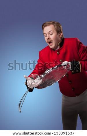 Waiter drops a tray - stock photo