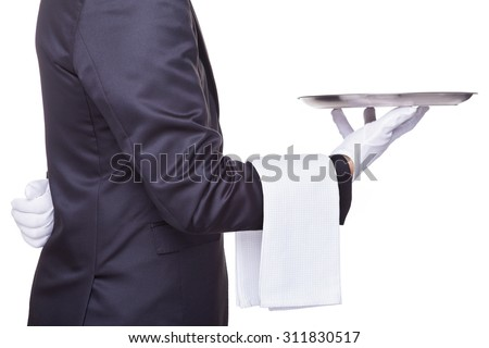 Waiter holding a empty silver tray, isolated on white background - stock photo