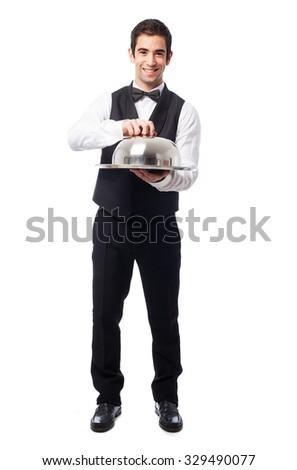 waiter holding a tray on white - stock photo