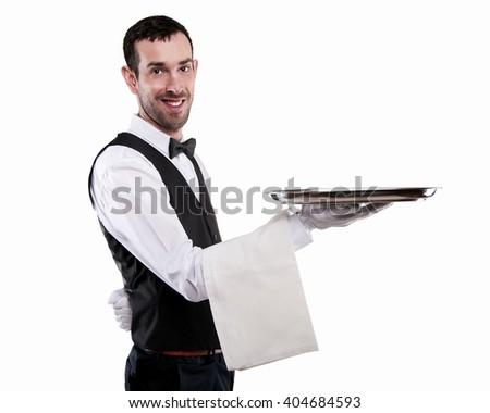 Waiter holding tray. Isolated over white background. Smiling butler. - stock photo