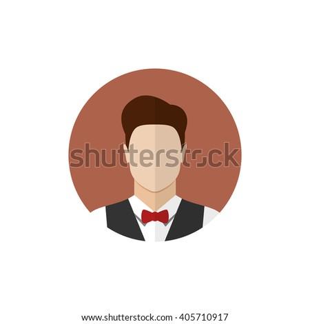 Waiter icon isolated on a white background. Butler icon. Flat style  illustration - stock photo