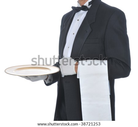 Waiter in Tuxedo holding a serving tray in one hand and a towel draped over his arm. Torso only, Square Composition isolated on white. - stock photo