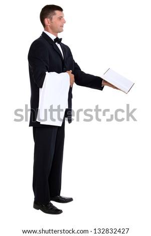 Waiter showing menu - stock photo