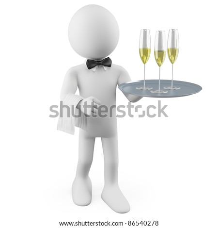 Waiter with a tray with three glasses of champagne - stock photo