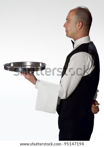 Waiter with tray profile - stock photo