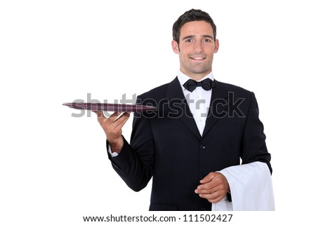 Waiter with tray smoking and balance - stock photo