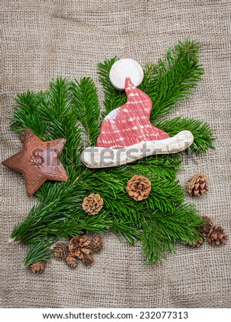 waiting for christmas - natural christmas decoration - stock photo