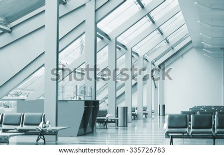 Waiting room at the modern airport - stock photo