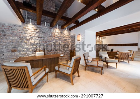 waiting room in luxury hotel - stock photo