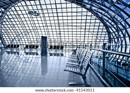 Waiting room with chairs, place in airport, perspective view - stock photo
