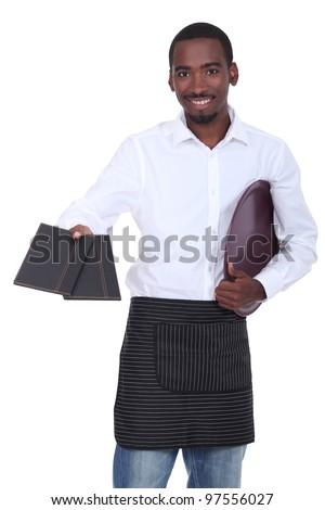 Waitor giving menus - stock photo
