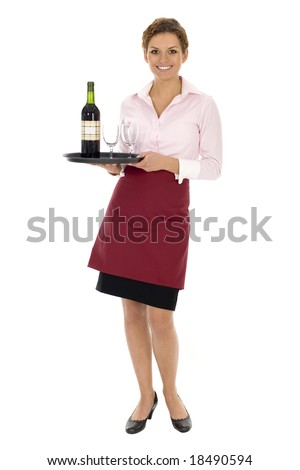 Waitress carrying tray of wine - stock photo