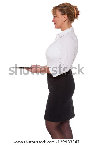 Waitress holding an empty silver tray, isolated on a white background. Good image for product placement. - stock photo